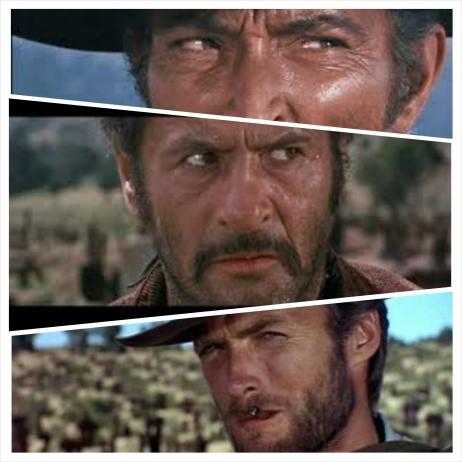 """Enquanto os olhares de Eastwood e Van Cleef dizem """"sou mais rápido e mortal que você"""" o de Wallach parece gritar """"para que lado eu corro depois de atirar?"""""""