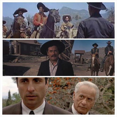 De cima para baixo: 1) Calvera e sua gangue encarando Yul Brynner em Sete Homens e Um Destino; 2) Charlie Gant em A Conquista do Oeste e 3) o compreensivo e sorrateiro Don Altobelo. - os vilões de Wallach são sempre mais do que a primeira impressão possa revelar.